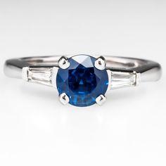 Vintage Blue Sapphire Engagement Ring
