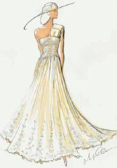 A wide ribbon signature detail makes this one-shoulder gown design by Oleg Cassini uniquely elegant.