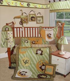 Sisi Jungle Monkey Crib Bedding Collection in Green