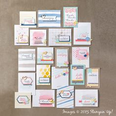 Watercolor Wishes Card Kit [140406] (Kit includes 12 Photopolymer stamps, 20 pre-watercolored card bases, die-cut pieces & flowers, 2 Stampin' Spots, acrylic block, wood cut outs, Washi tape) (2015-2016 IB&C $35.00)