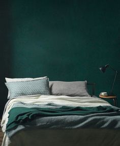 8 Ways To Embrace Dark Decor #refinery29 http://www.refinery29.uk/dark-colour-scheme-interior-design#slide-1 Green with envyDark mineral greens ooze a sexy kind of opulence, so perhaps they're most at home in the bedroom, where the shade's soothing hue can help to promote better sleep and relaxation. Moody shades are great for light sleepers too, as the darker you go, the less light disturbance you'll experience. Team with slubby, crumpled linens in similar tones to completely co...