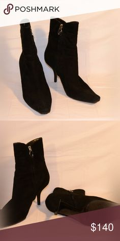 Sergio Rossi Black Suede Boots. Sweet Deal! Black heeled suede boots by Sergio Rossi, beautiful condition. This is a 🍯 sweet deal! Similar Sergio Rossi boots retail for over $600+ Model: Honey Bear 🐻 Sergio Rossi Shoes Heeled Boots