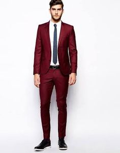 Costume homme custom slim fit Red Notched Lapel men blazers two button Business Suit Men Wedding Suits Groom Best man Suit-Men's Suits & Blazers-Enso Store-same as picture Store Red Tuxedo, Tuxedo For Men, Groom Tuxedo, Best Wedding Suits, Best Man Wedding, Wedding Tuxedos, Groomsmen Suits, Mens Suits, Wedding Outfits