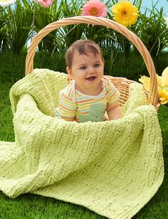 Yarnspirations.com - Bernat Basketweave Baby Blanket - Patterns  | Yarnspirations