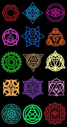 Summoner Saga Magic Circles by on deviantART / Sacred Geometry Magia Elemental, Elemental Magic, Magic Symbols, Ancient Symbols, Spell Circle, Element Symbols, Weapon Concept Art, Magic Spells, Magic Art