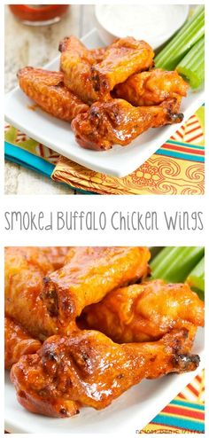 Smoked Buffalo Chicken Wings : sweetpeaskitchen Smoke Chicken Wings Recipe, Smoked Chicken Wings, Chicken Wing Recipes, Baked Chicken, Chicken Drumsticks, Thai Chicken, Grilled Chicken, Pellet Grill Recipes, Grilling Recipes