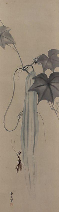 Sponge Gourd  and Mantis by Matsumura Keibun (1779-1843), Late Edo period. Japanese Hanging Scroll Painting.