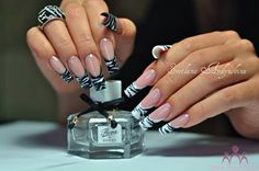 black and white tribal,animal, nail art