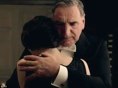 Downton Abbey Season 4: 'It takes Mary a long, long time to even interact with anyone': Mary receives a consoling embrace from Carson the butler (Jim Carter)