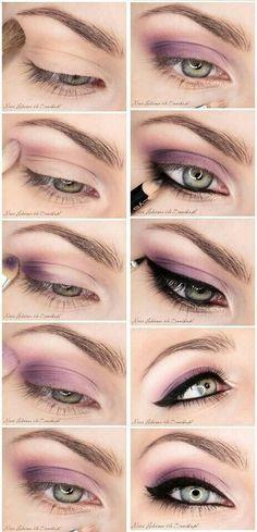 Romantic smokey eye makeup tutorial/step by step with purple eyeshadow and winged eyeliner