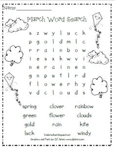 word search for kindergarten printable | free words worksheets for ...