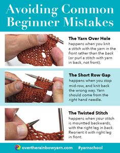 Avoiding 3 Common Beginner Knitting Mistakes, from Yarn School by Over the Rainbow Yarn. #yarnschool