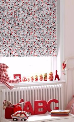 If your little one is learning the alphabet then our Letters Red Roller blind is a pretty smart choice! Featuring hand-drawn style letters scattered with splashes of red, it's fun AND educational choice for children's bedrooms. Red Blinds, Roller Blinds, Skylight Blinds, Blinds For You, Blackout Blinds, Red Design, Red Interiors, Luxury Interior Design, Good Night Sleep