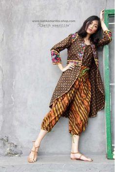 batik amarillis's ildiko 3 jacket-PO Batik Fashion, Hijab Fashion, Fashion Outfits, Batik Kebaya, Batik Dress, Unique Dresses, Stylish Dresses, Blouse Batik Modern, Batik Muslim