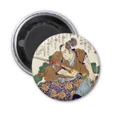 Classic Vintage Japanese Samurai Warrior General Refrigerator Magnet #Classic #Vintage #Japanese #Samurai #Warrior #Ronin #oriental #customizable #gifts and #accessories #Japan #kenshi #bushi #katana