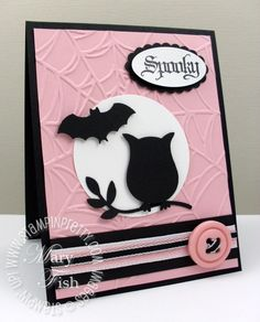 I would use orange background instead of pink for a Halloween image! Image Detail for - Stampin up mojo monday owl bat punch picture on VisualizeUs Halloween Cards, Fall Halloween, Fall Cards, Holiday Cards, Owl Punch Cards, Punch Art, Owl Card, Thanksgiving Cards, Scrapbook Cards