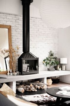 Home Fireplace, Living Room With Fireplace, Fireplace Design, Home Living Room, Living Room Decor, Fireplaces, Plywood Furniture, Freestanding Fireplace, Wood Burner