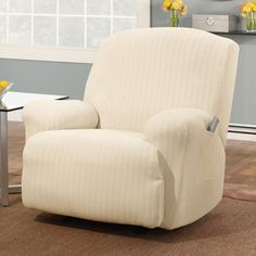 Sure Fit Slipcovers Stretch Pinstripe Recliner Slipcover | ATG Stores