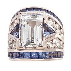 REPOSSI White Gold 9.72c White Sapphire Diamond Blue Sapphire. Contemporary