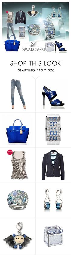 """Blue swarovski"" by ivona098 ❤ liked on Polyvore featuring Roberto Cavalli, Reed Krakoff, Swarovski, White House Black Market and Juicy Couture"