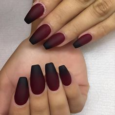 Burgundy and black matte ombre nails