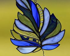 Stained glass green maple leaf suncatcher stain glass fall