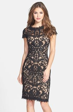 Free shipping and returns on Tadashi Shoji Illusion Yoke Lace Sheath Dress at Nordstrom.com. Exquisite, beautifully symmetrical lace is fashioned into a breathtaking sheath dress. The illusion yoke and cap sleeves lend a refreshing sheerness to the polished look while detailed trim softens the overall silhouette.
