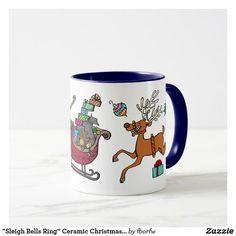 "Designed by Lynn Johnston!  ""Sleigh Bells Ring"" Ceramic Christmas Mug"