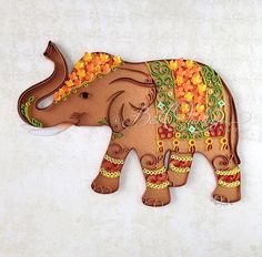 """CUSTOM ORDER Unique Original Quilling Art: """"Lucky Elephant"""" Figurine, Colourful Paper Art, Wall Art, Framed, Wall Decor, Size 25x25cm by BestQuillings on Etsy"""