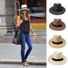 Fashion Men Women Panama Sun Straw Hat Contrast Ribbon Pinched Crown Rolled Trim Beach Cap