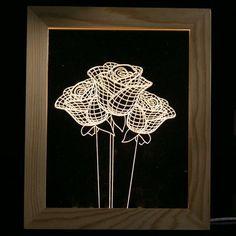 Rose Flower Wooden Photo Frame LED Table Night Light - TRANSPARENT