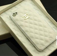 style chanel design cc logo iphone 4 / 4s white Leather Hard Case Cover BNIB