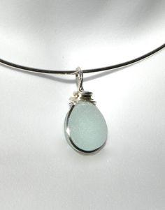Wire Wrapped SeaFoam Sea Glass Pendant Argentium Silver