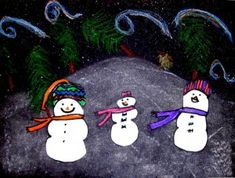 Winter Snowmen at Night Winter Art, Winter Snow, Winter Christmas, Snow Scenes, Winter Scenes, Snowmen At Night, Snowman Images, Scene Kids, Build A Snowman