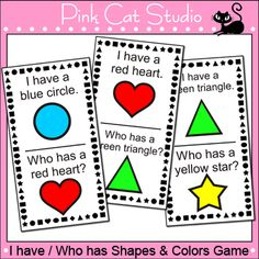 I have, Who has Shapes and Colors Game: Your class with have a blast practicing their shapes and colors with this fun card game!
