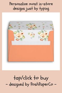 Shop Cantaloupe Peach Floral Pattern Return Address Envelope created by PoshPaperCo. Wedding Stationery, Wedding Invitations, Custom Printed Envelopes, Addressing Envelopes, Pastel Floral, Watercolor Wedding, Return Address, Store Design, Floral Wedding