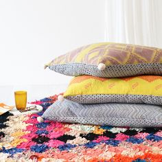 Designed in-house this colourful kantha and geometric block printed textiles means you get the best of both worlds with this much-loved floor cushion. Rest And Relaxation, Floor Cushions, Lounge, Comfy, Flooring, Blanket, Crochet, Pom Poms, Prints