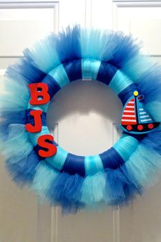 Customizable 12 Monogramed Baby Nursery Tulle Wreath by AdornADoor, $35.00