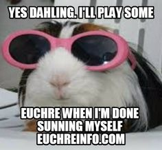 Yes dahling. I'll play some Euchre with you when I'm done sunning myself.