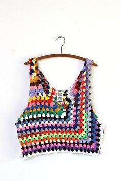 Crochet Top grungy knit crochet tank por napkinitems en Etsy More - Tops A Crochet, Crochet Crop Top, Love Crochet, Crochet Granny, Crochet Bikini, Knit Crochet, Crochet Clothes, Diy Clothes, Knitting Patterns