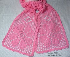 Blog Post about this Scarf I made:  Pink Lace Flower Scarf in Filet Crochet - Handmade by @rssdesignsfiber -- Ruth Sandra Sperling as RSS Designs In Fiber