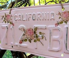 Pretty in Pink Repurposed licensed plate