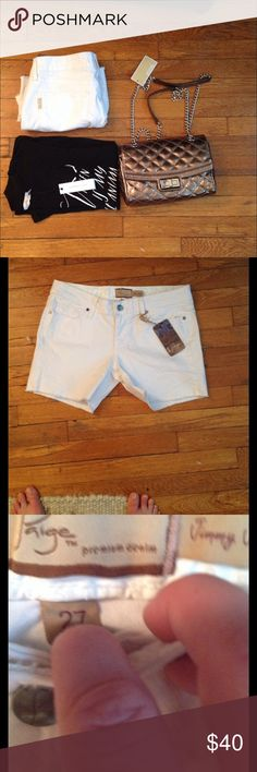 """NWT Paige 'Jimmy Jimmy' Cuff Denim Shorts In White A loose, slouchy fit is borrowed from the boys for cute and casual denim shorts bleached with a crisp, fresh white. 4,5"""" inseam; 20"""" leg opening; 8"""" front rise; Zip fly with button closure. Five-pocket style. 98% cotton, 2% spandex Paige Jeans Shorts Jean Shorts"""