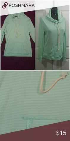 Lightweight striped beachy hoodie Lightweight hoodie with rope style ties for a nautical feel. Very soft and comfortable. Ivory and Robin's egg blue are the strip colors Sweaters