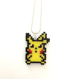 Pokemon Pikachu Perler Bead Necklace - Perler Bead, Pokemon, Pokemon Go, Pikachu, 8-bit, Perler Bead Necklace, 8-bit Jewelry, Pokemon Perler by CarafirasCreations on Etsy