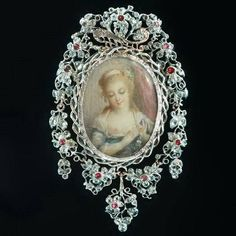 Antique diamonds ivory woman miniature painting brooch