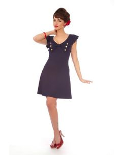 Plus Size Pinup 60's Vintage Design Navy Sweetheart Ruffle Mini Dress - 3XL by Steady Clothing, http://www.amazon.com/dp/B007X6TN16/ref=cm_sw_r_pi_dp_yOxQpb08JK8CK