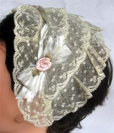 Charming Victorian Fine Lace Net Evening or Dinner Cap Ribbon Trimmed | eBay