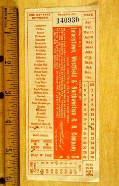 1947 Jamestown Westfield & Northwestern Railroad Co. Conductor Issued Ticket NY   eBay