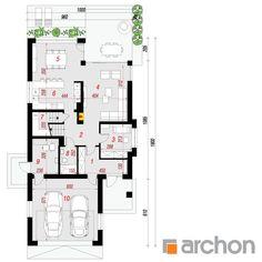 projekt Dom w czermieni rzut parteru Simple House, House Plans, Sweet Home, New Homes, Floor Plans, Farmhouse, House Design, Flooring, How To Plan